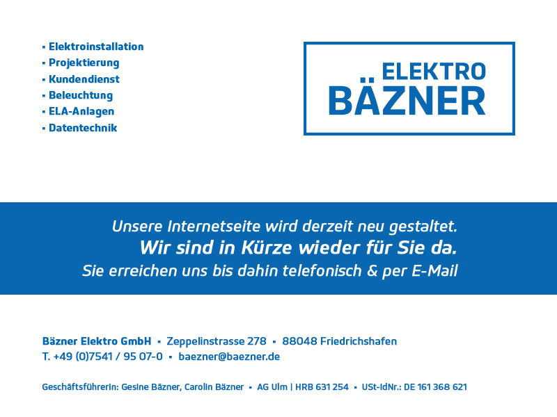 Bäzner Elektro Stillpage